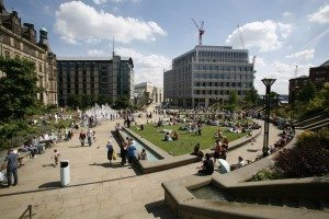 Peace Gardens fountains and lawns